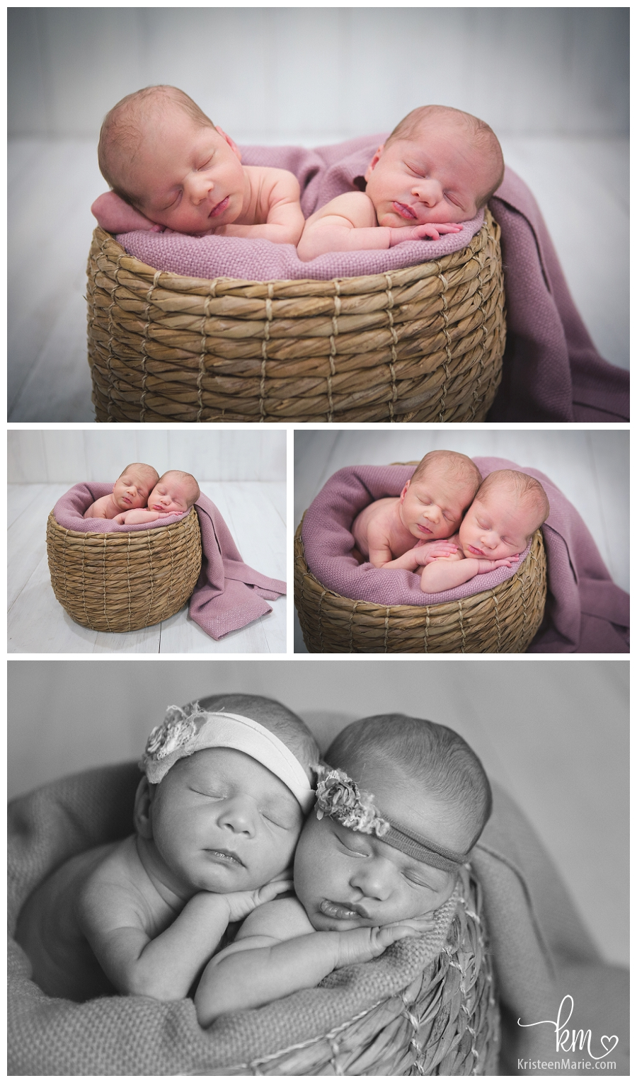 pink, brown, and white newborn set up for twin girls