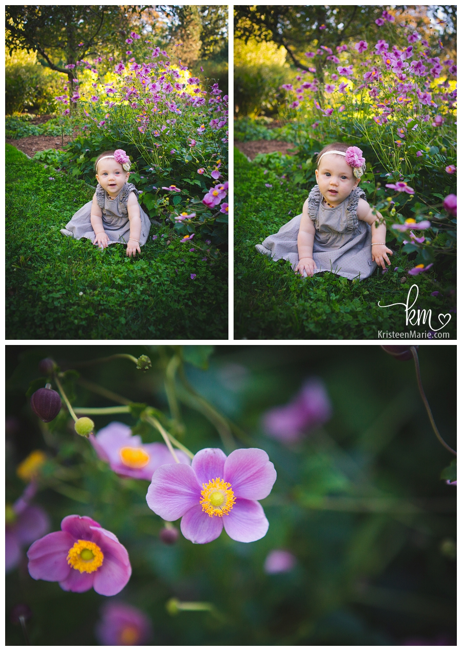 Six Month Old with Purple Flowers
