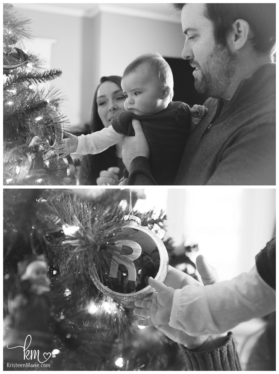 black and white family pictures at Christmas in Indianapolis