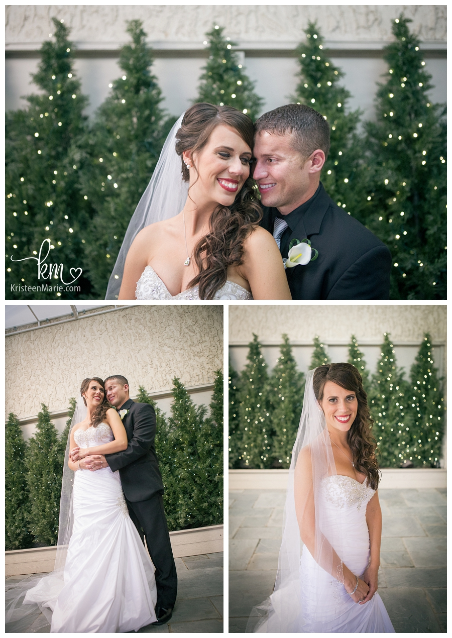 bride and groom in front of lights at Valle Vista
