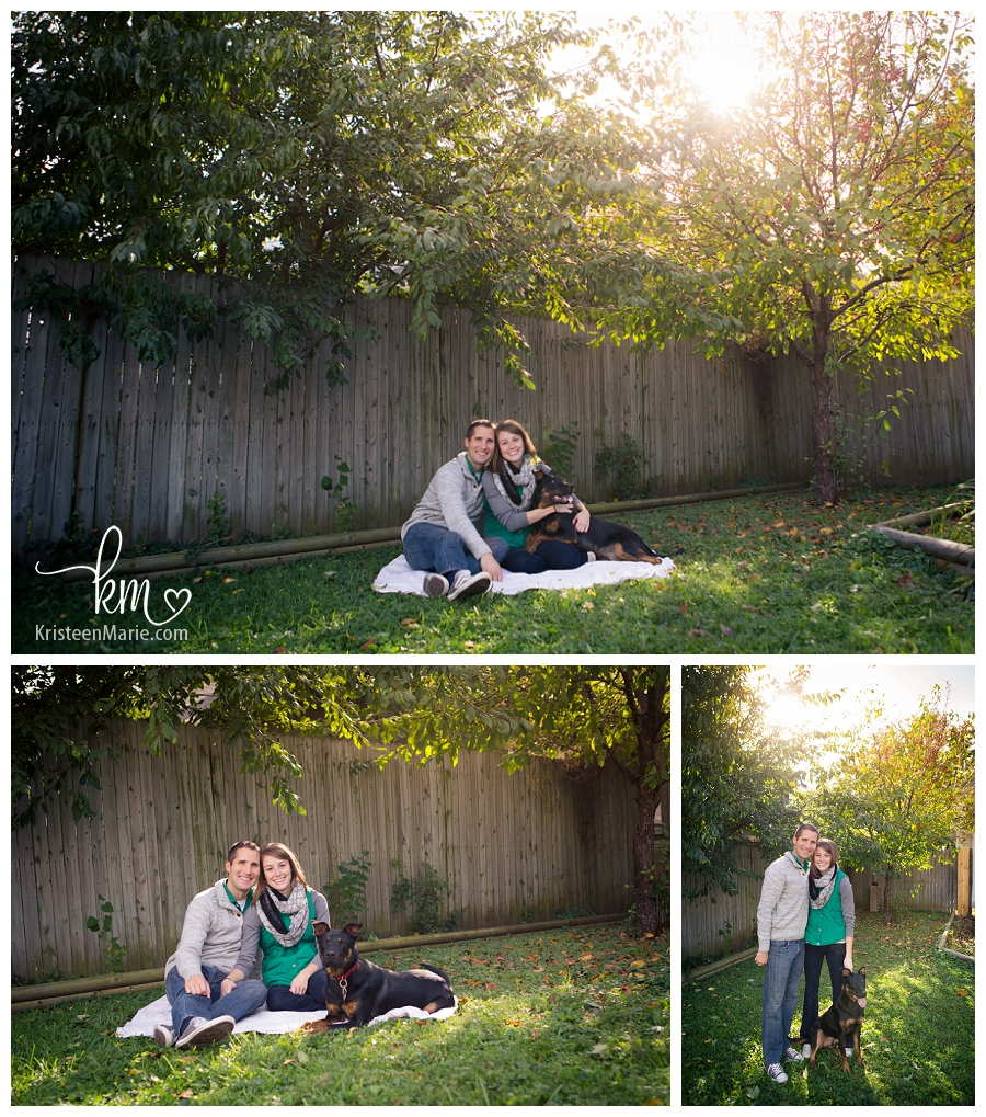 engagement picture with family dog