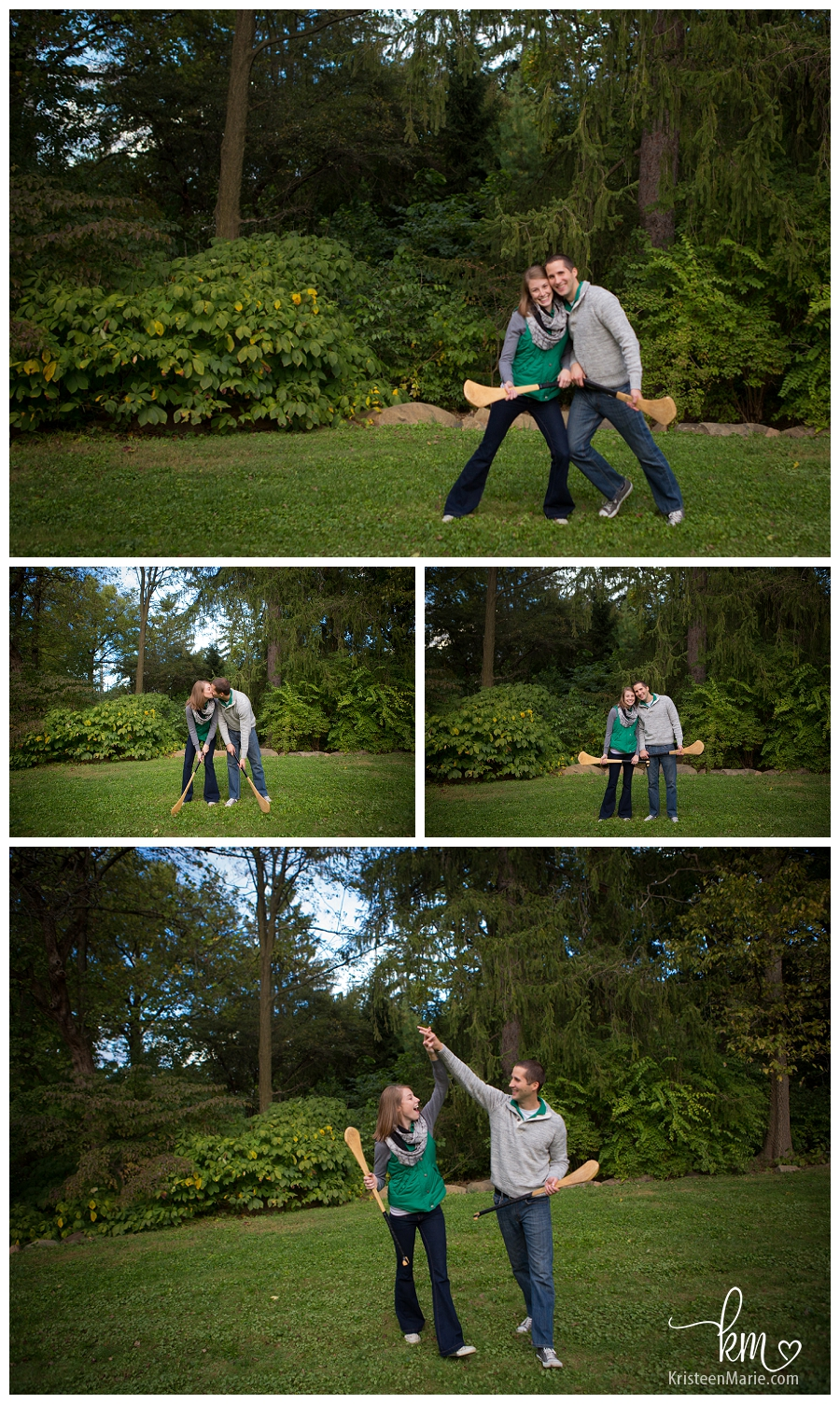 Couple playing hurling for engagement picture