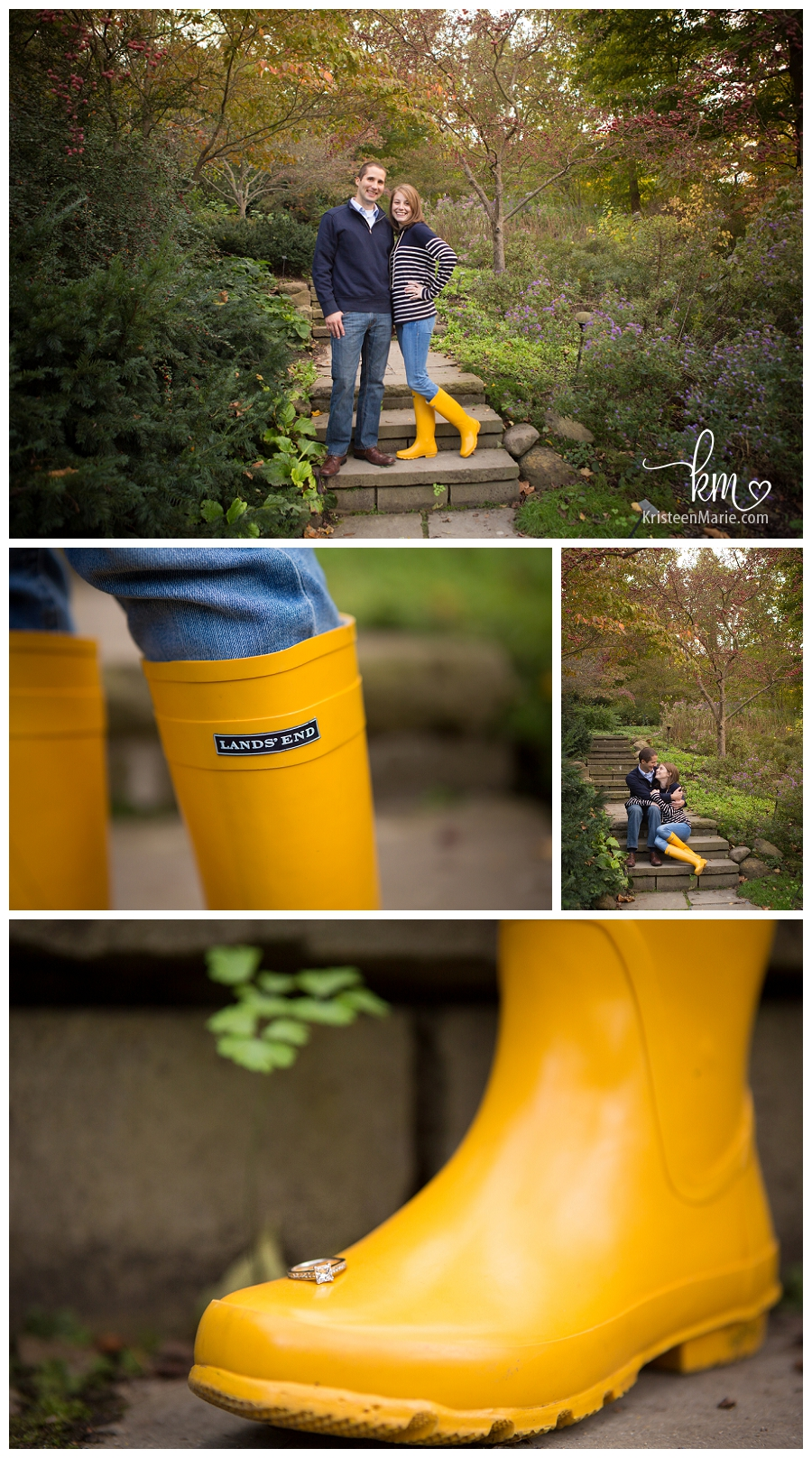 Engagement picture with yellow boots
