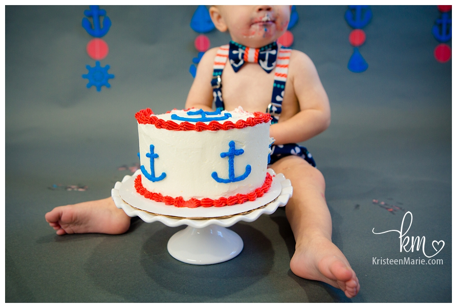 Anchor Themed Cake Smash Zionsville Child Photography