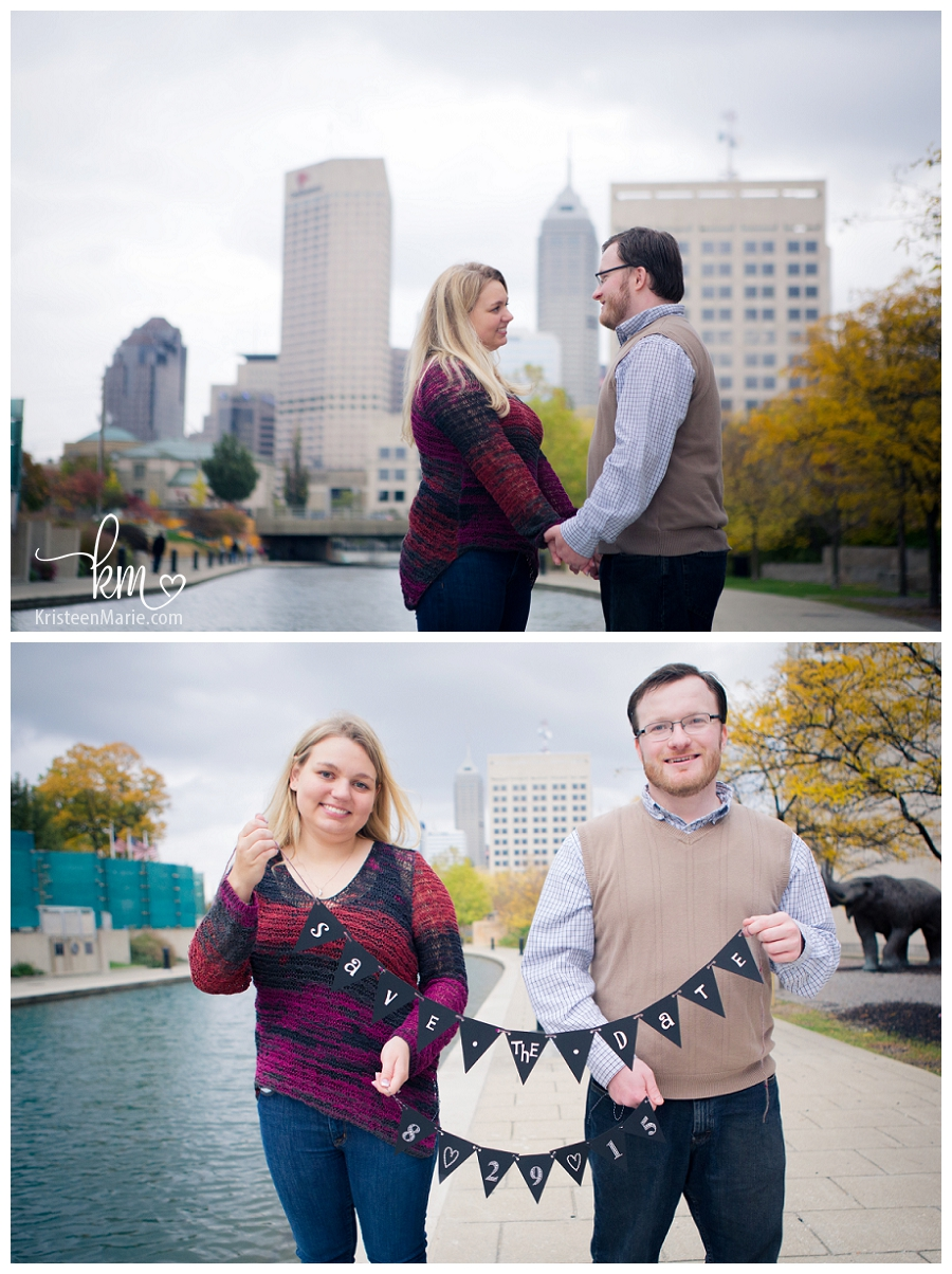 Downtown Indianapolis Engagement Picture with Canal and Skyline
