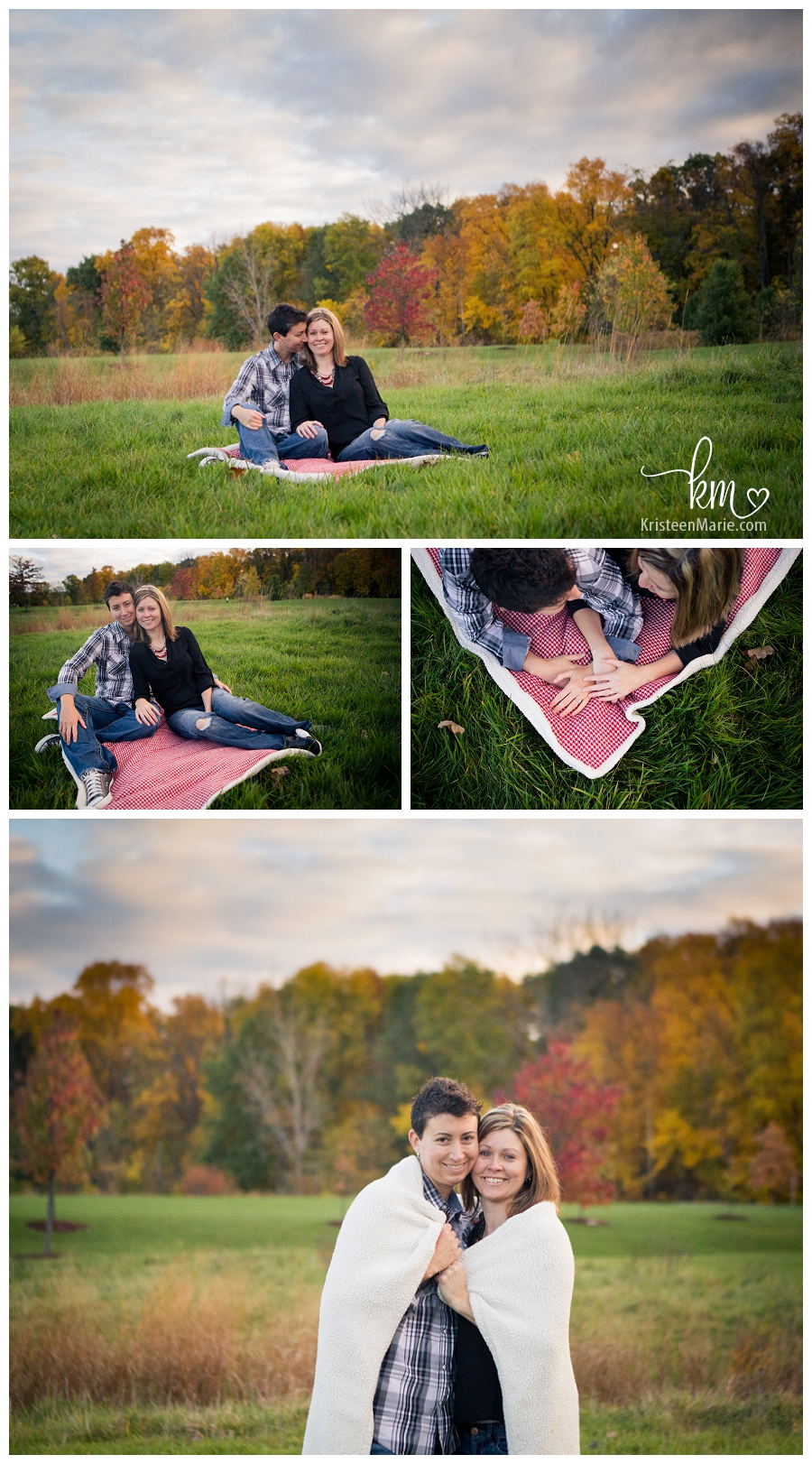 same sex couple in Fall on blanket for engagement