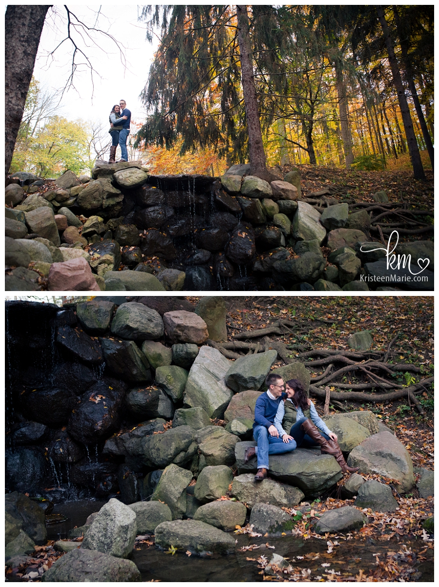 engagement pictures in the rocks and waterfall