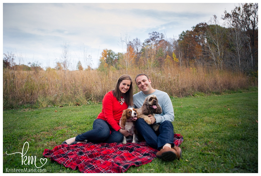 Indianapolis engagement session with dogs