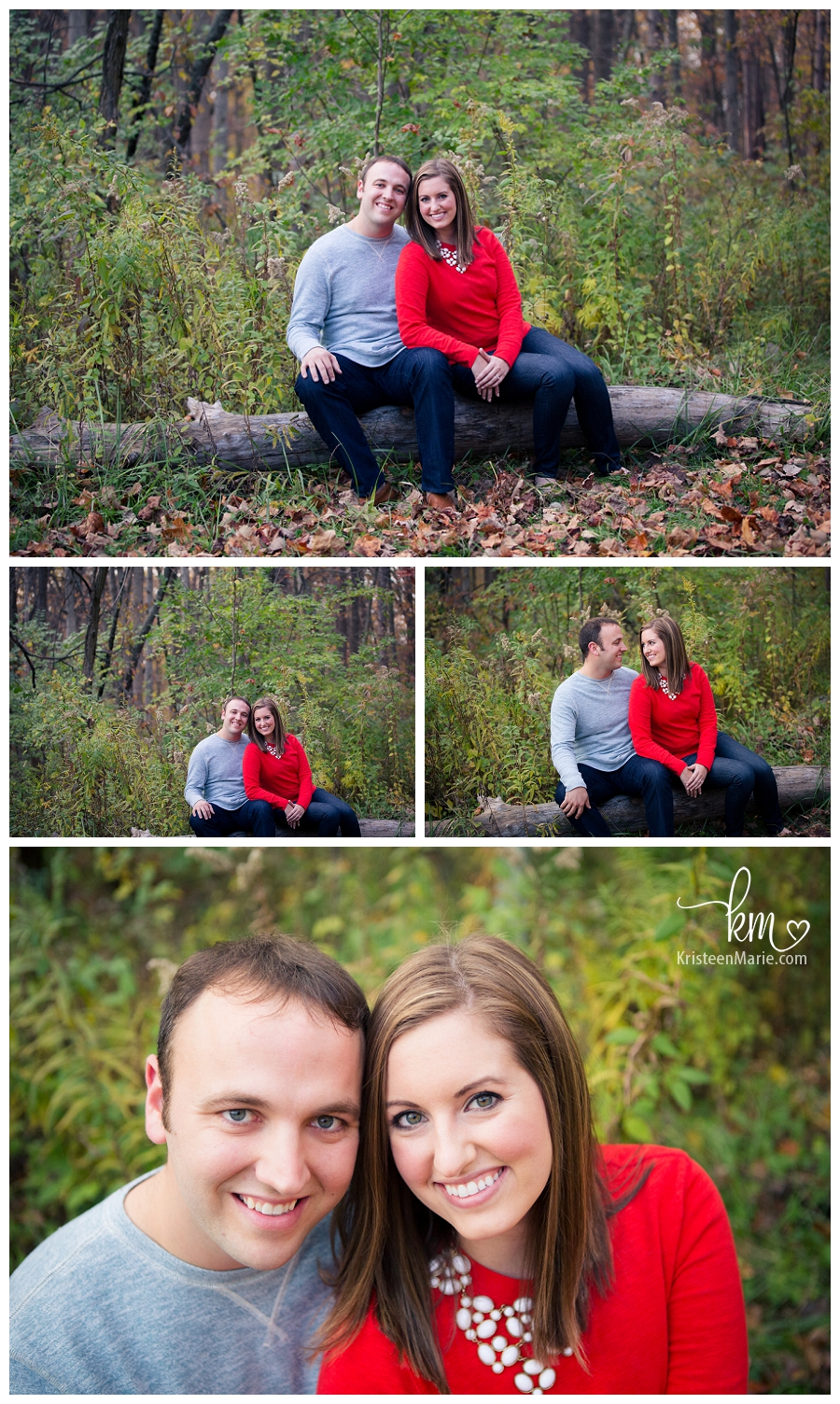 engagement picture - grey, red, and green
