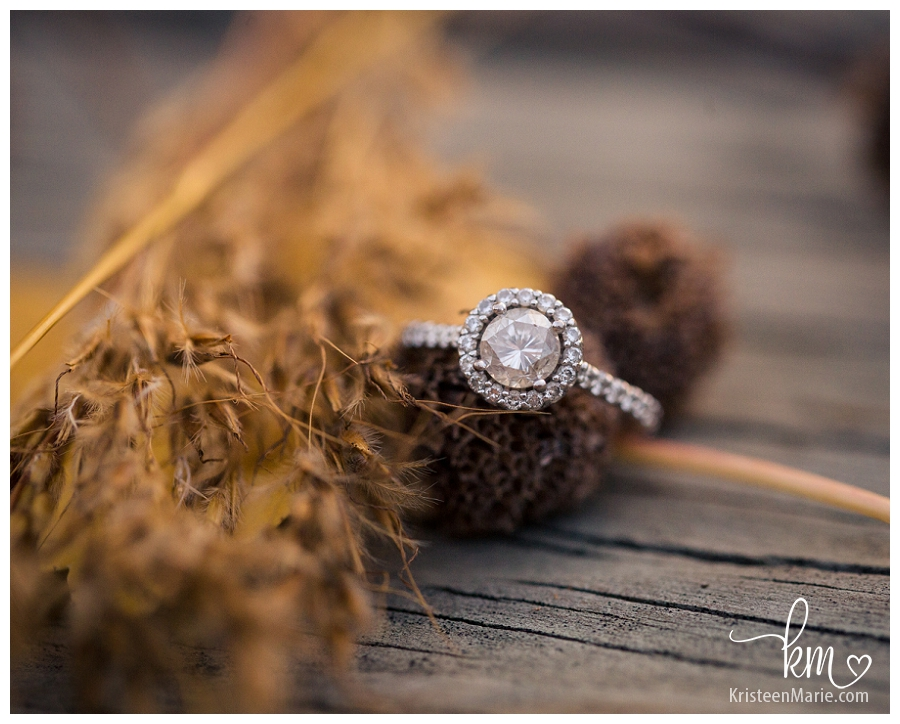 engagement ring with Fall elements