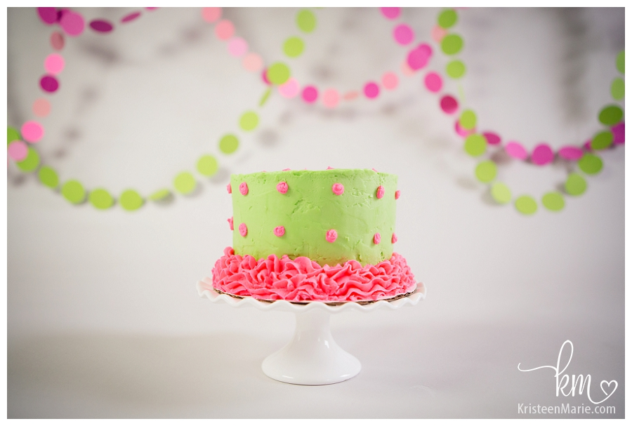 Allenas Pink And Green Cake Smash Session Zionsville Cake Smash