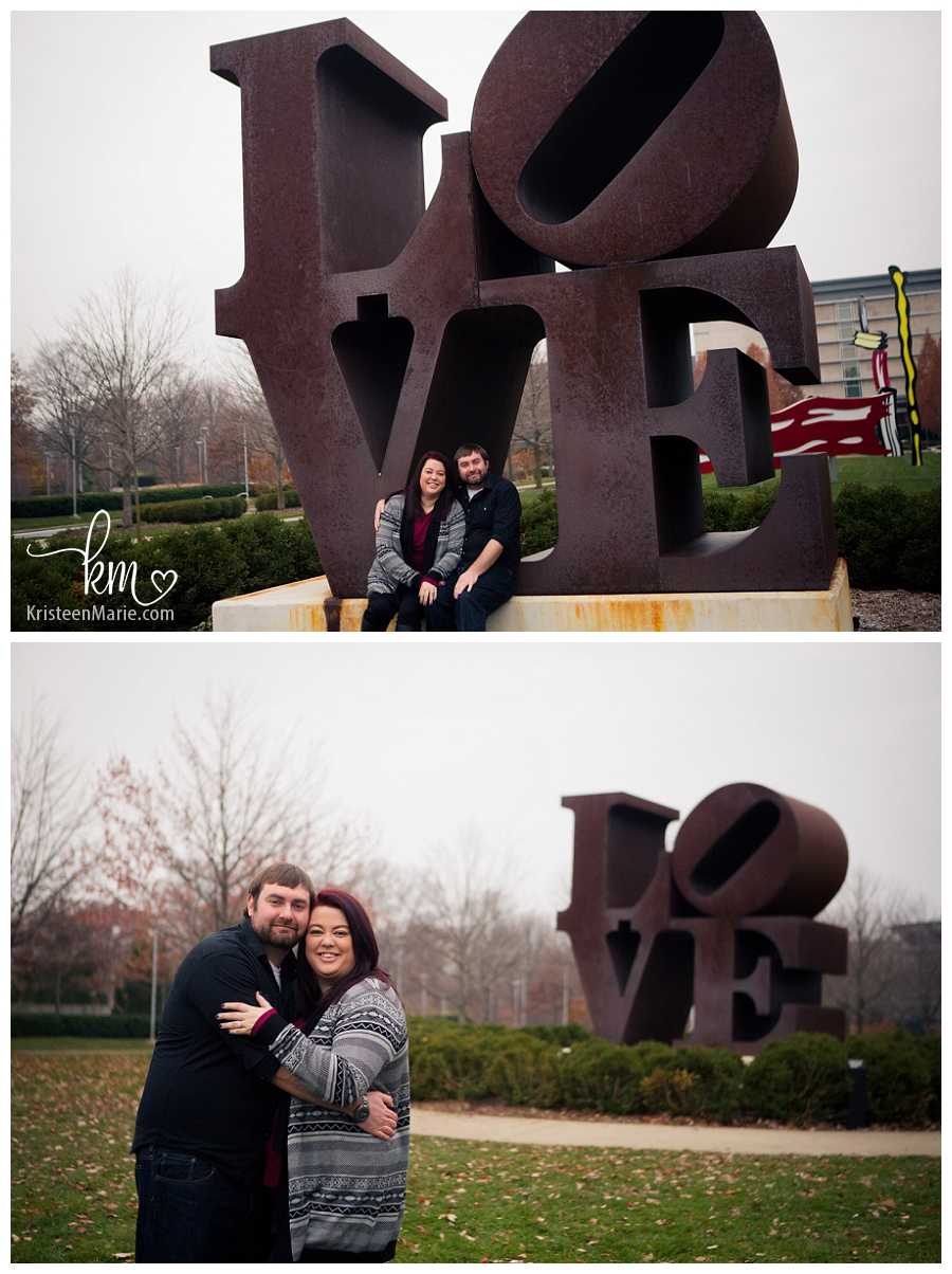 Couple in front of LOVE statue at the IMA