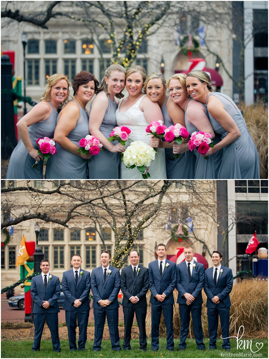 The bridesmaids and the groomsmen