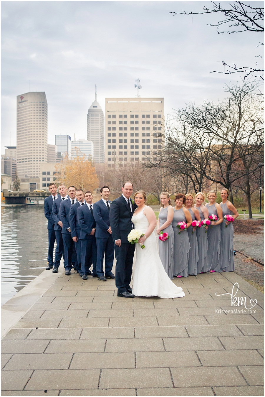 Bridal party with downtown Indianapolis as the backdrop