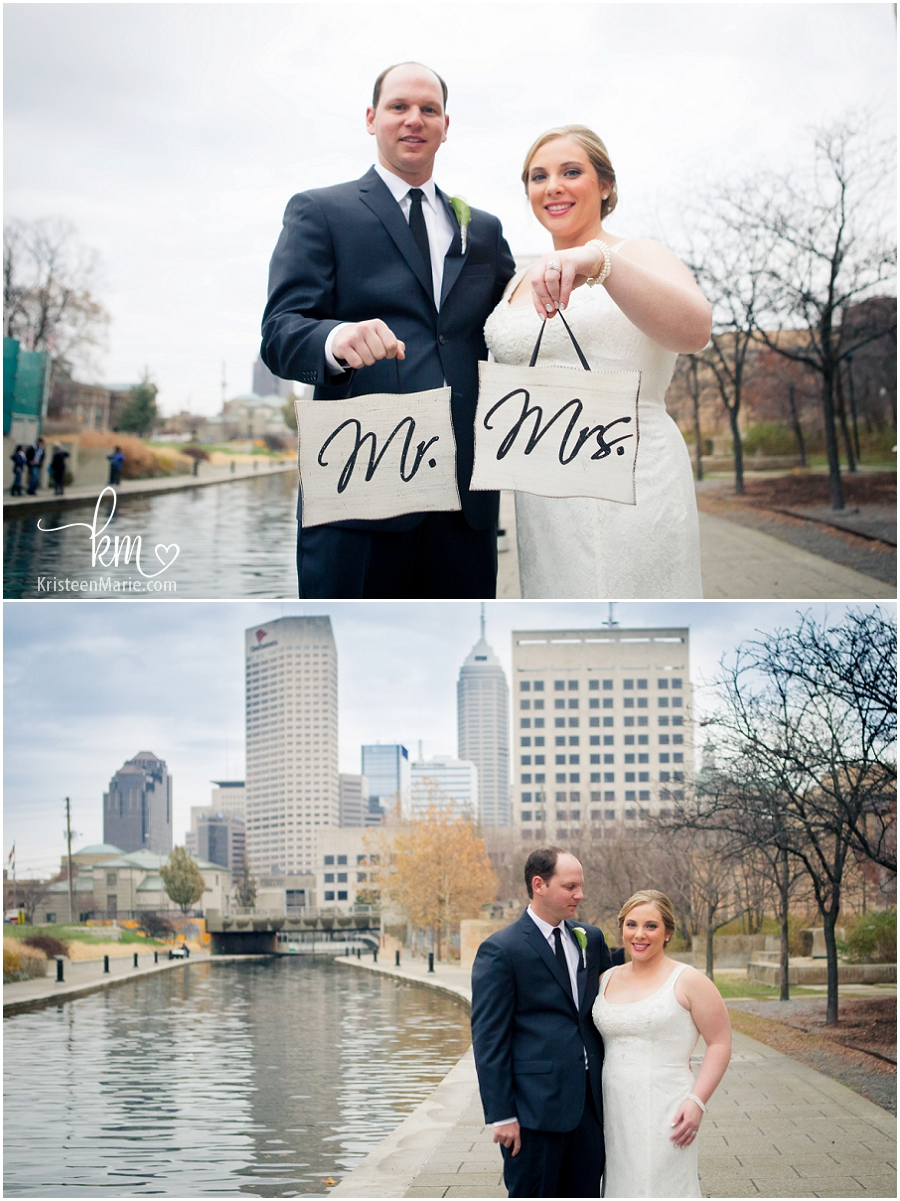 Mr. and Mrs. in Downtown Indianapolis on Wedding Day