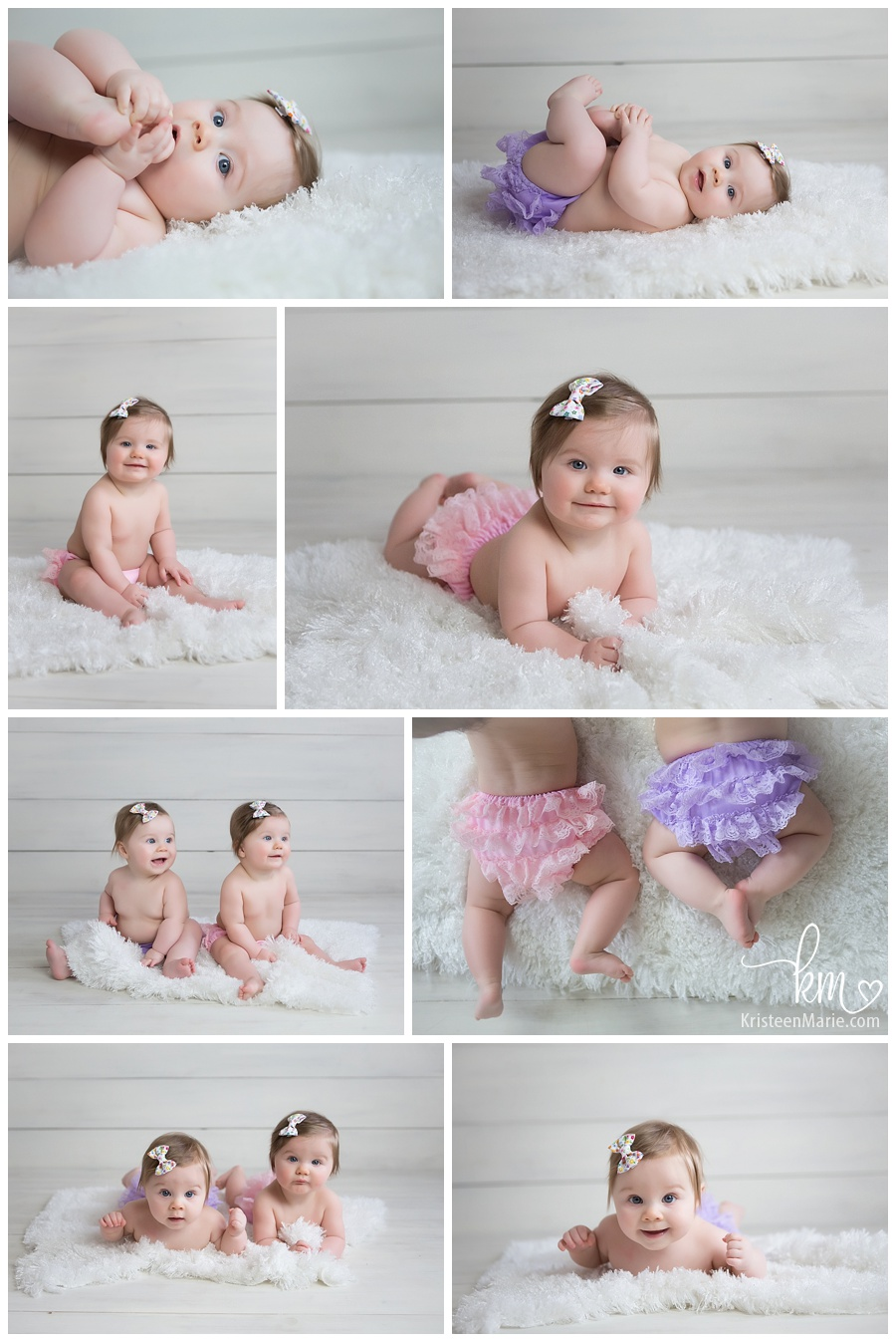 ruffle bottom baby girls - twin girls in pink and purple