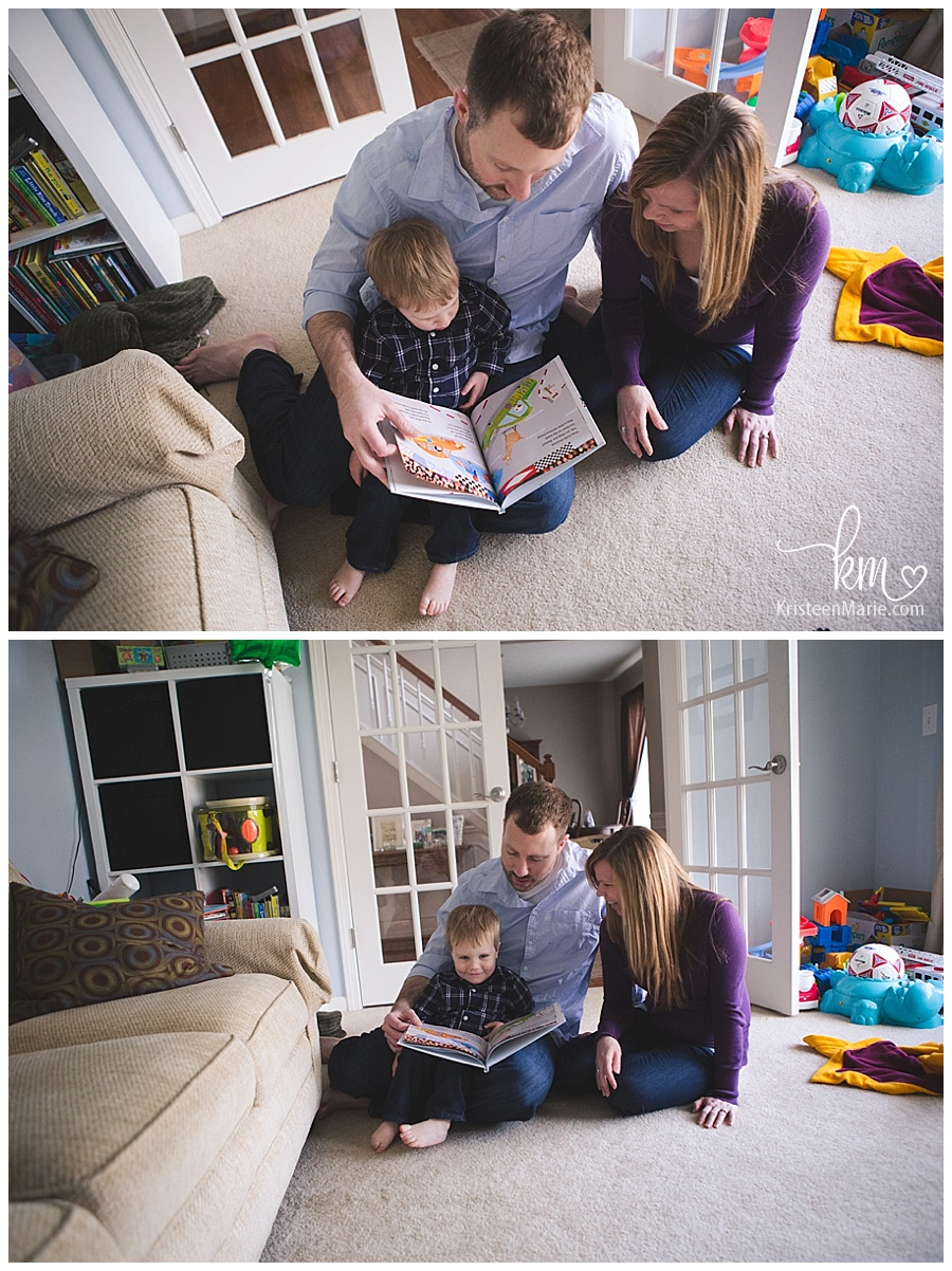 reading books with mom and dad