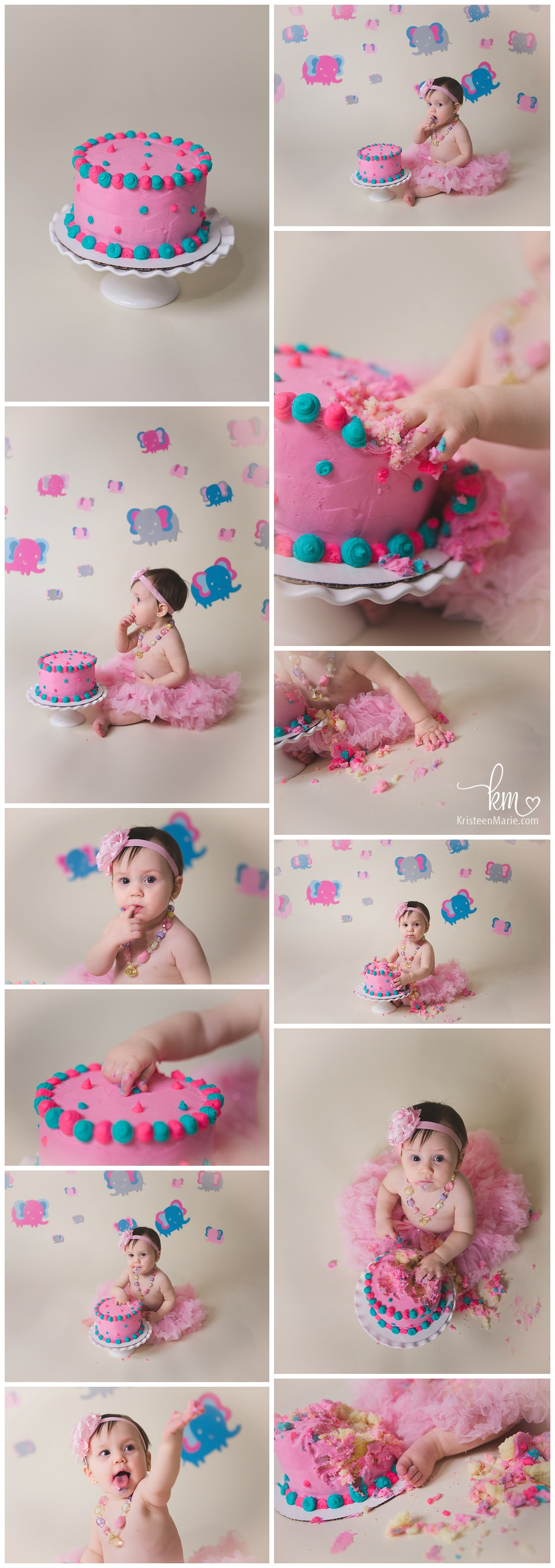 circus themed cake smash for little girl - pink, blue, grey