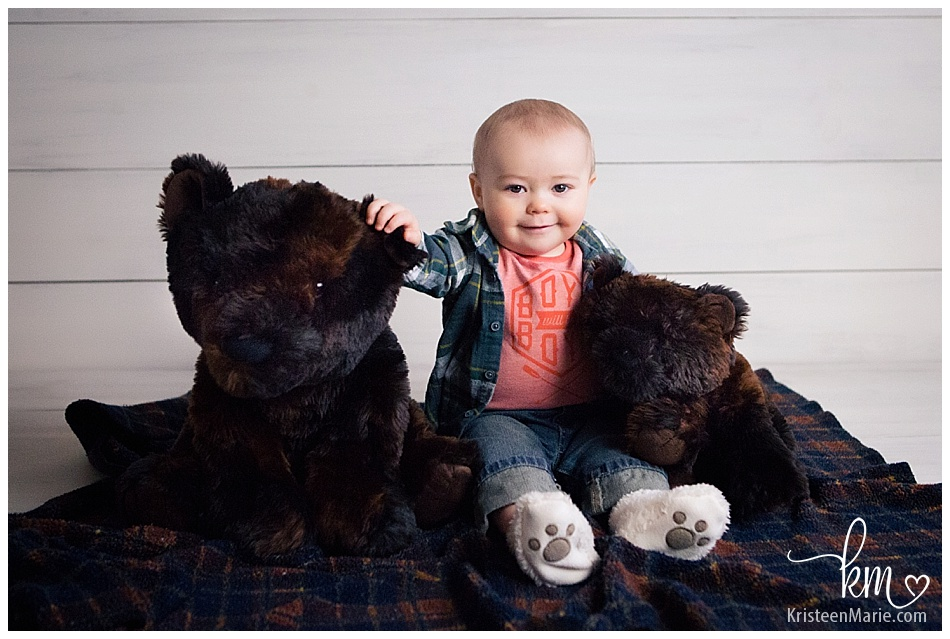 Boy with his bears