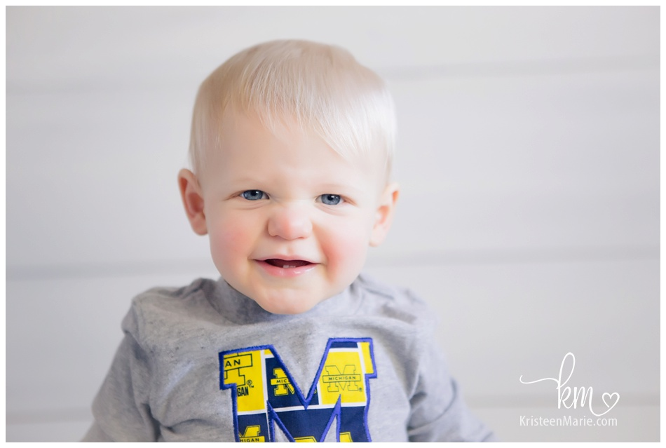 Little one year old boy in Michigan State shirt