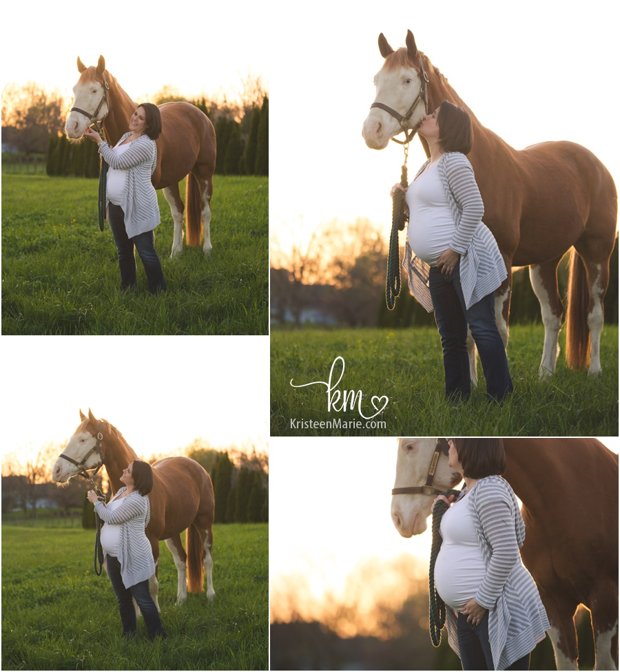 Pregnant mom and her horse