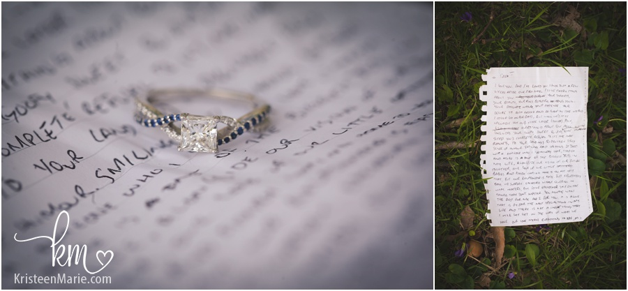 a ring with a note