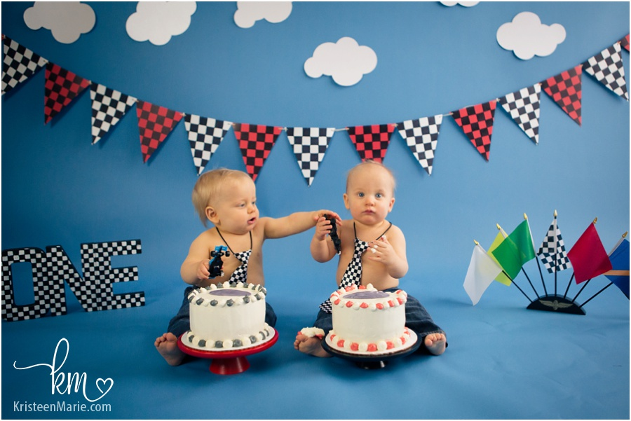 Race Car Cake Smash Indianapolis Child Photographer