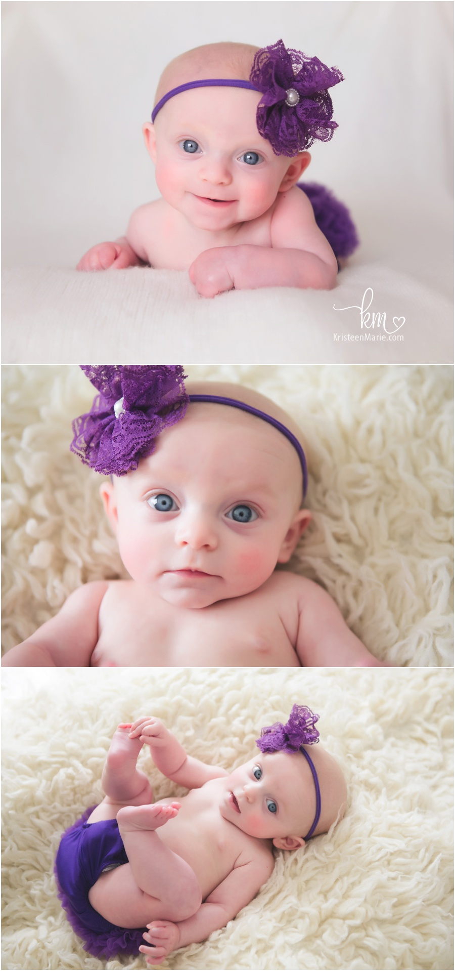 Sweet baby girl in purple