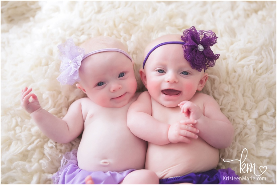 smiling twin girls
