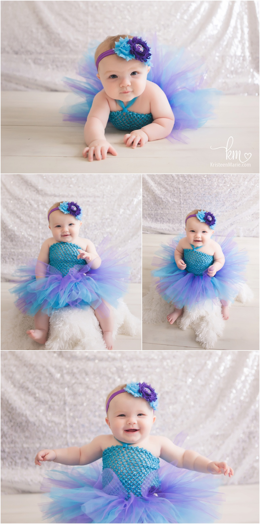 Little girl in tutu - purple and teal