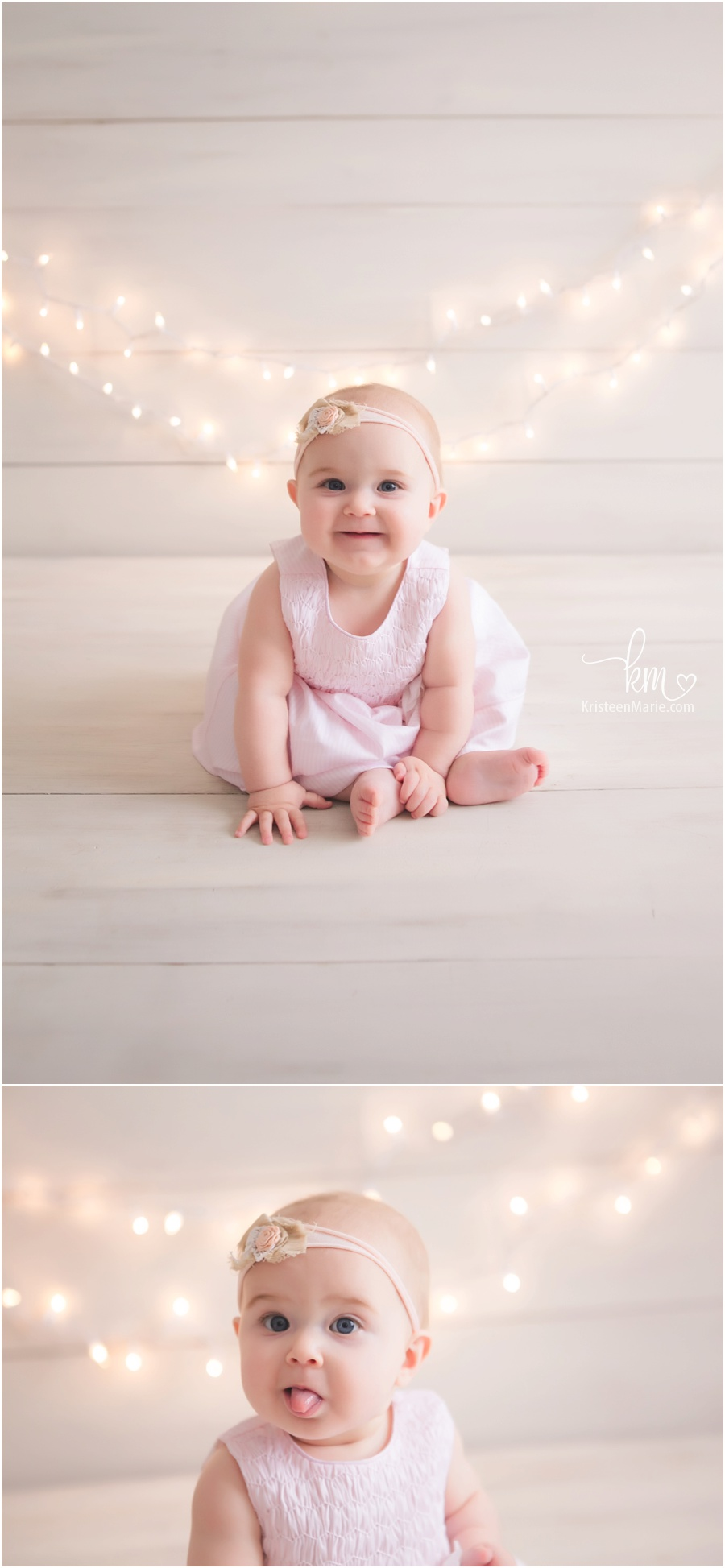 Little baby girl with lights behind her