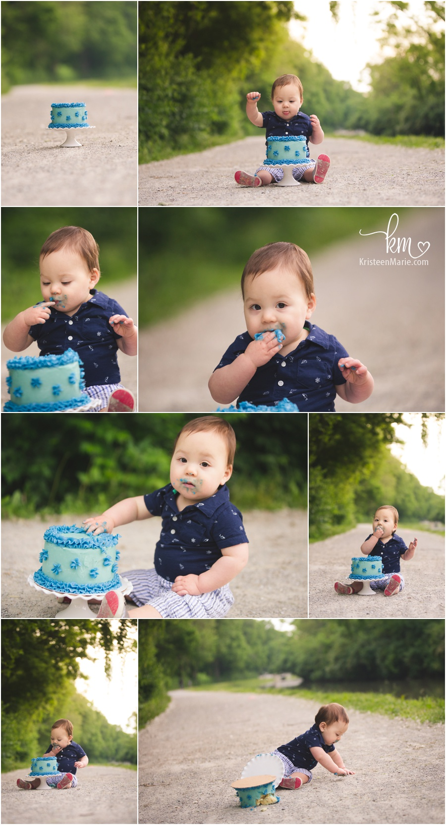 blue cake smash session outdoors by KristeenMarie Photography