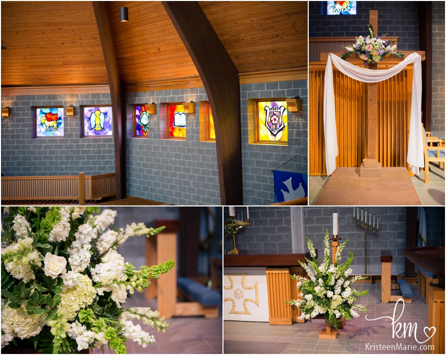wedding detials at Carmel Lutheran Church