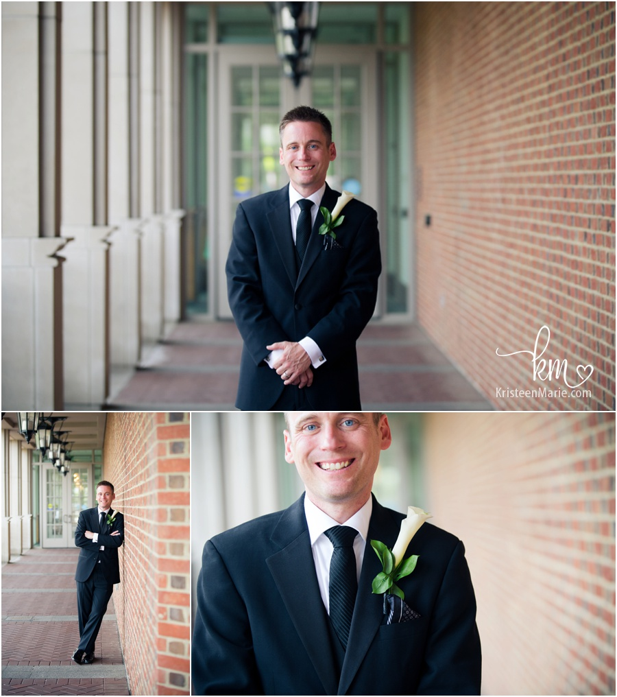 Groom with brick backdrop on his wedding day at the Eugene and Marilyn Glick Indiana History Center