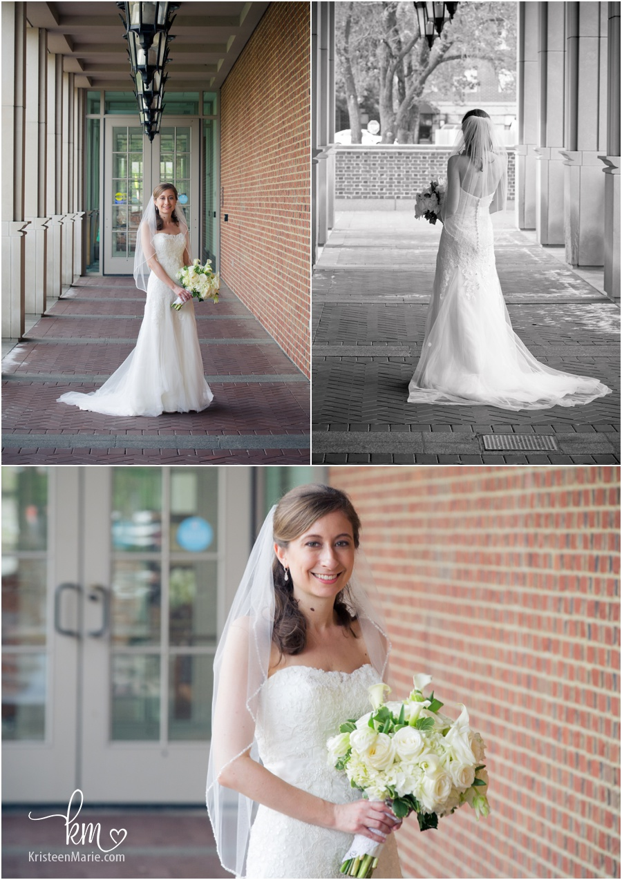 stunning bride in enterance of Indiana Historical Society