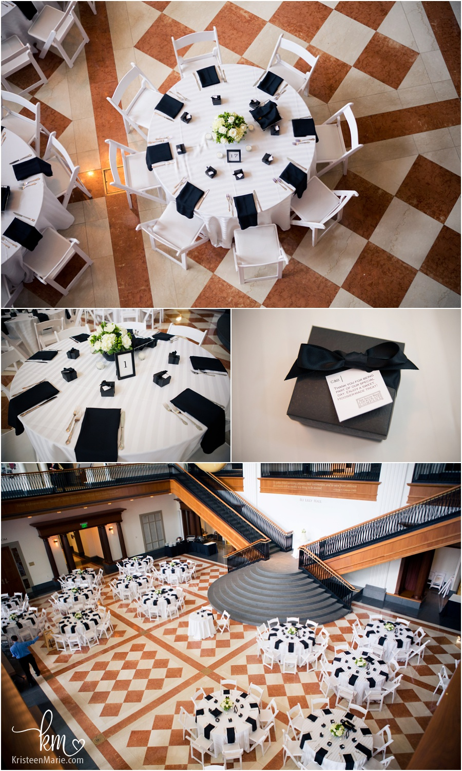 The wedding setup at the Indiana History Center in Indianapolis, IN