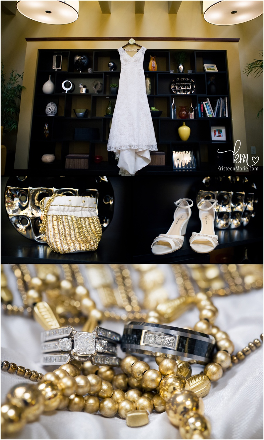 wedding details - dress, shoes, jewlery, and rings