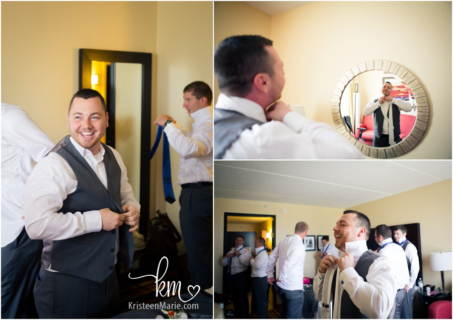 groom getting ready with the guys for his wedding