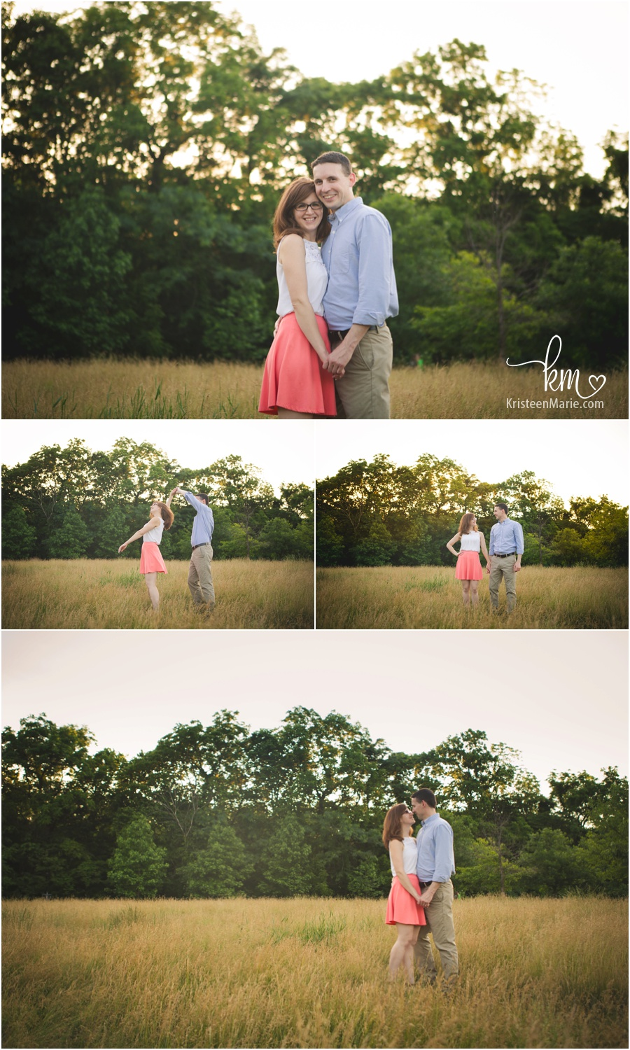 Sweet engaged couple at Avon Town Hall Park