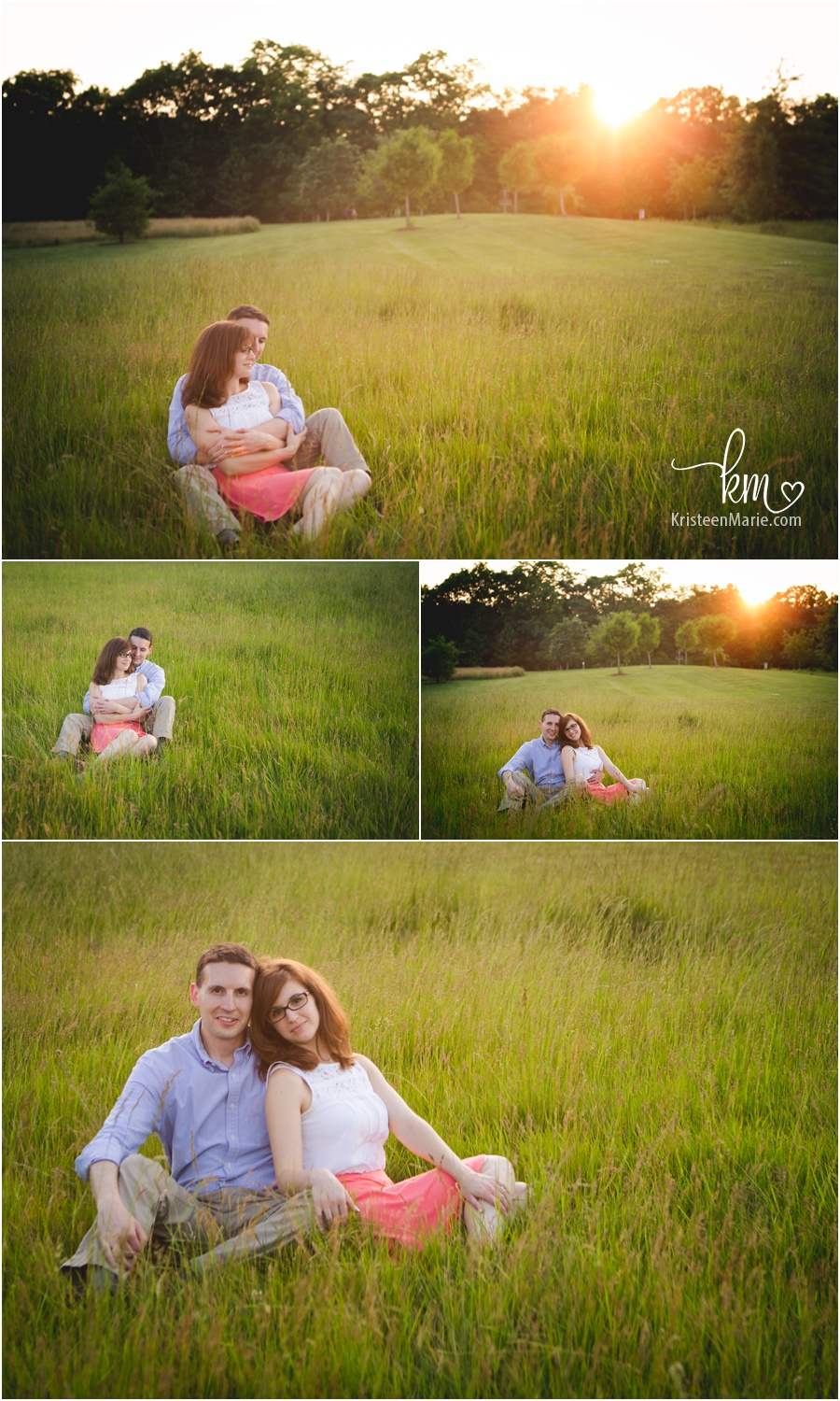 Park at sunset engagement pictures