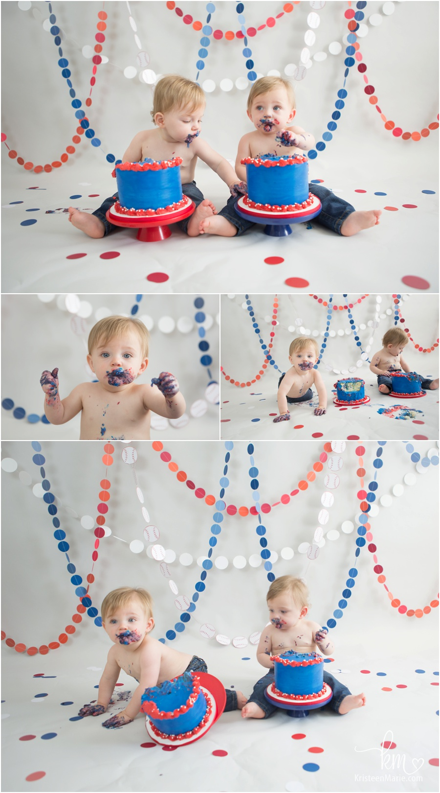 Baseball Themed Twin Boy Cake Smash Photography