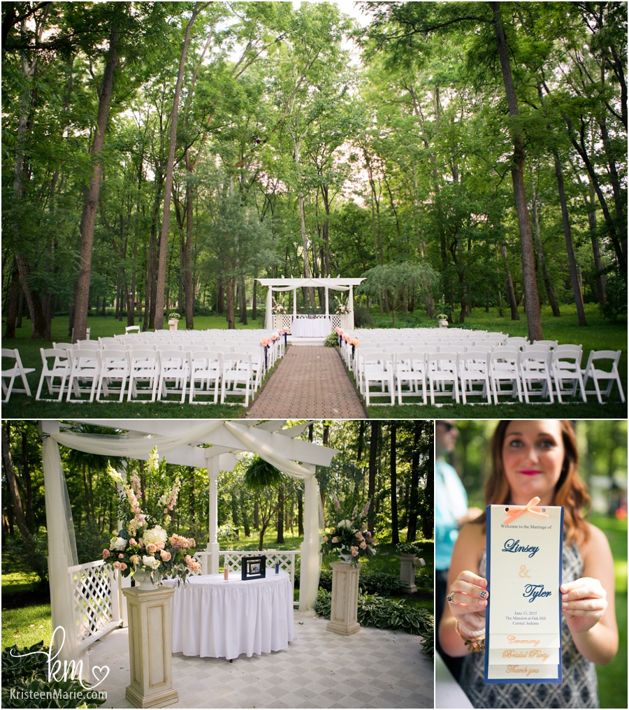 Outdoor wedding space at Oak Hill Mansion