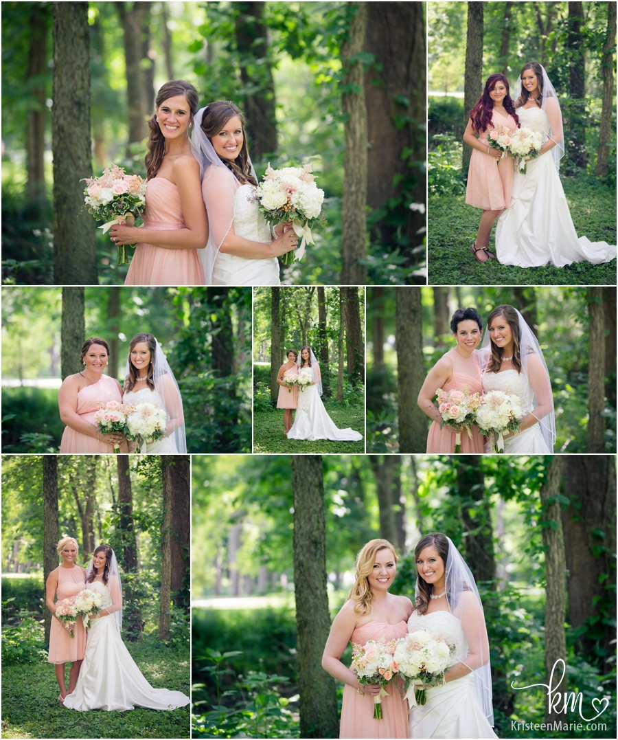 bride with each of her girls