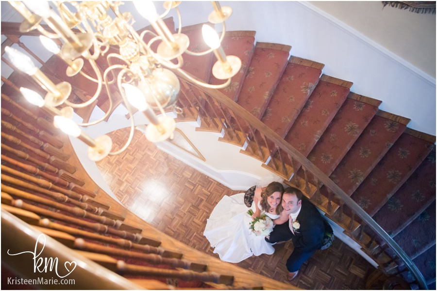 Oak Hill Mansion picture of bride and groom inside