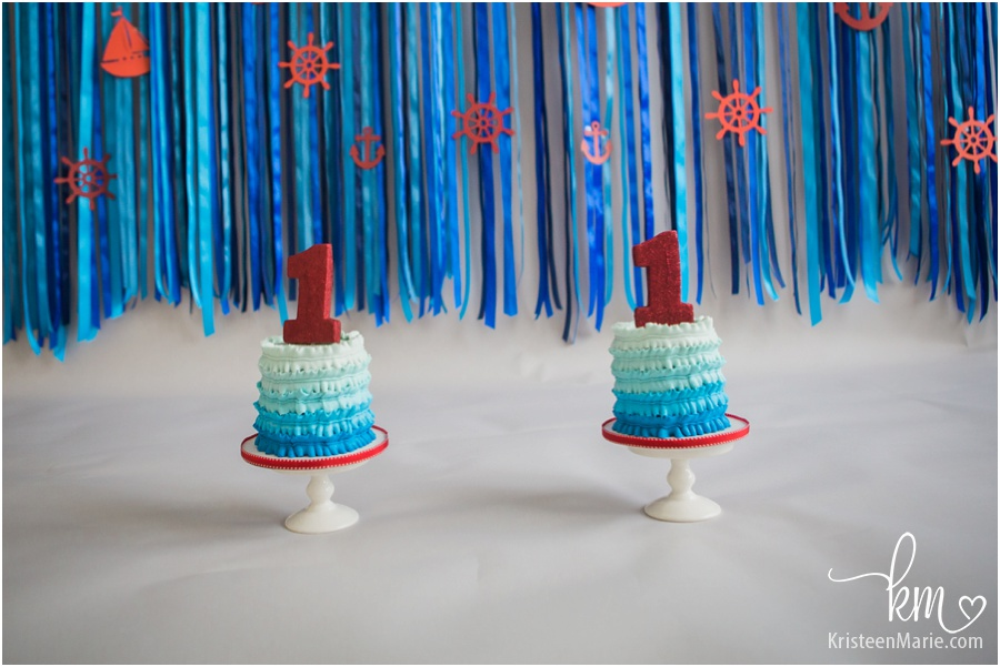 smash cake in blue ombre - sailing themed