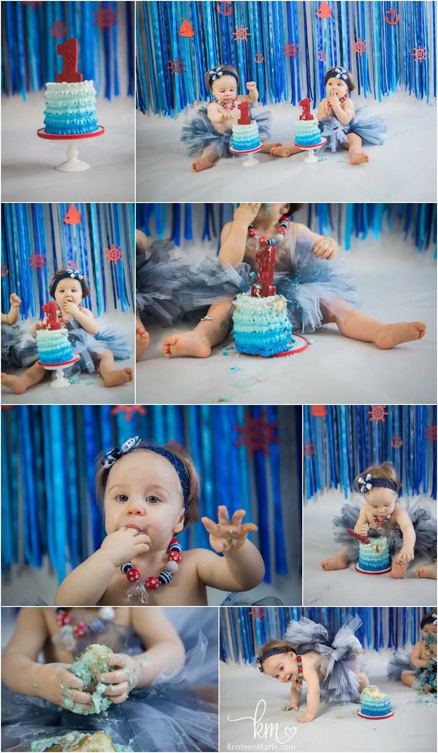 Sailing themed cake smash with twin girls - blue ombre and red