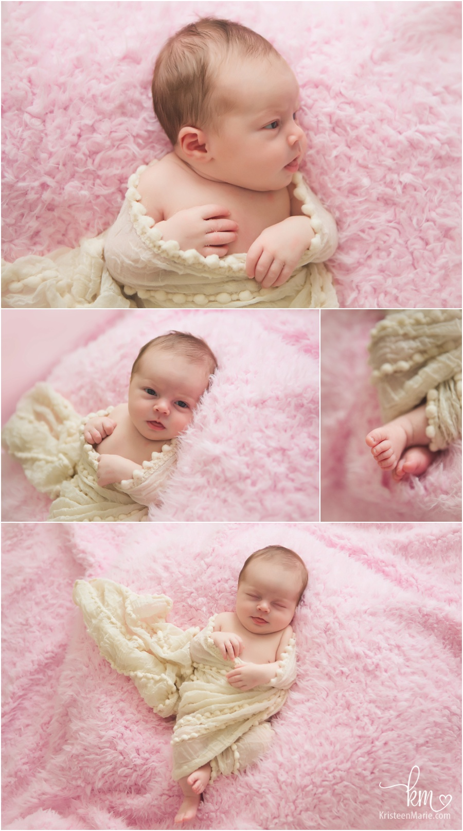 newborn baby girl on pink and cream backdrop