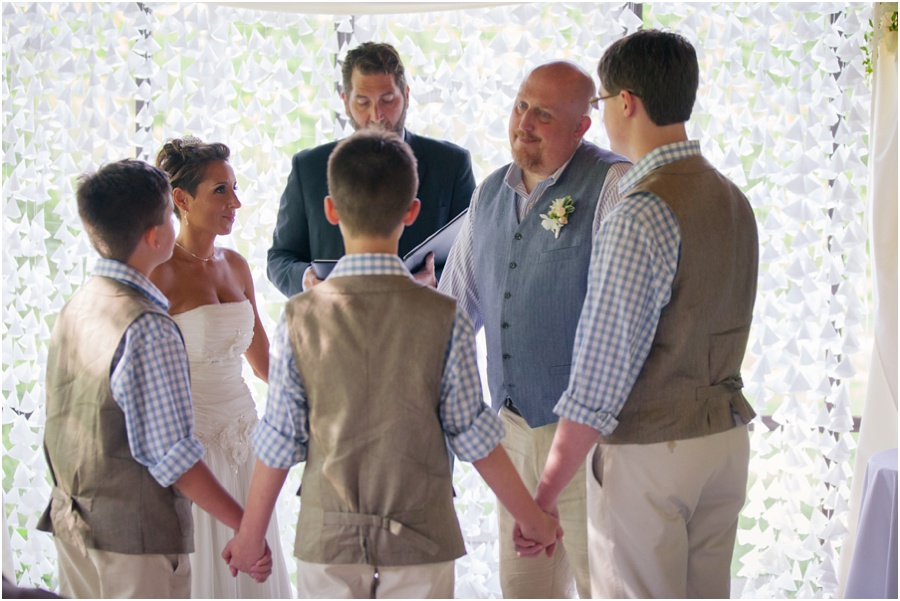 The whole family saying vows