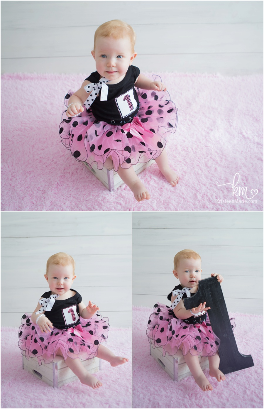 one year old girl birthday pictures - pink and black