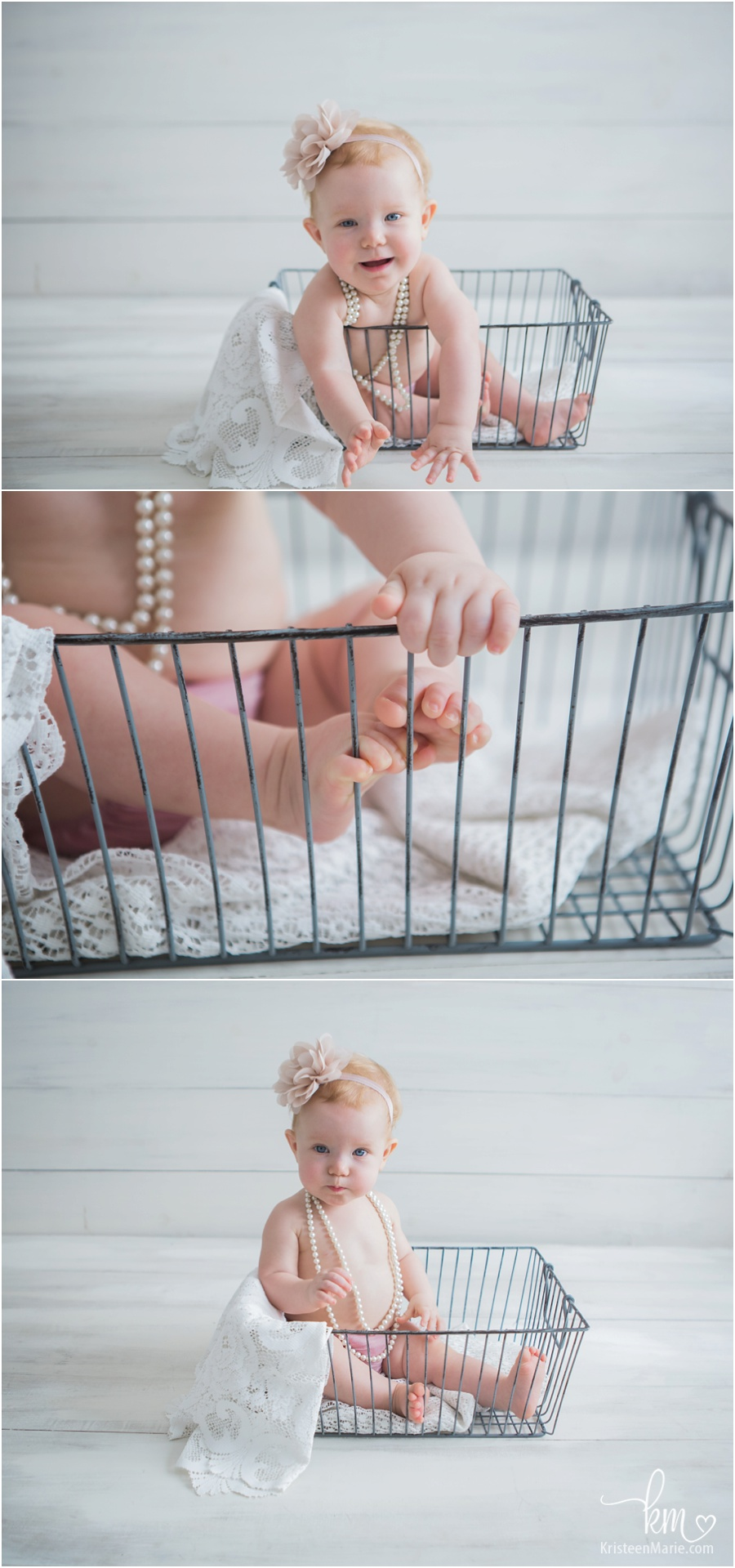 adorable little girl in a basket